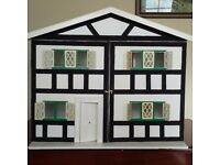 Large Wooden Dolls House in VGC. 62cm wide x 55cm high x 36 cm deep
