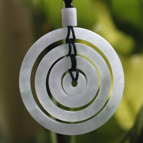 Certified Natural Grade A Icy Light Lavender JADE Jadeite Circle Donuts Pendant