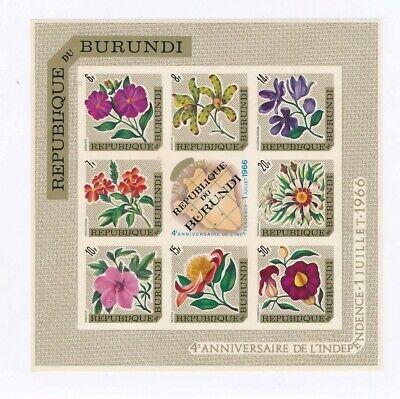 D177164 Flowers MNH Sheetlet Burundi Imperforate