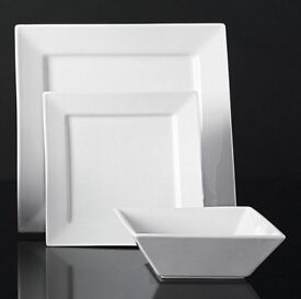 Brand-new in box 12 piece white porcelain square dinner service