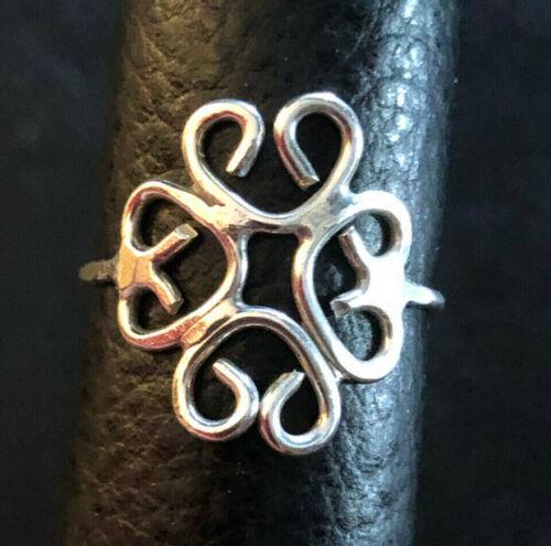 VTG Sterling Silver Ring Quatrefoil Shamrock Clover Handmade Sz 6 1.3g 925 #959