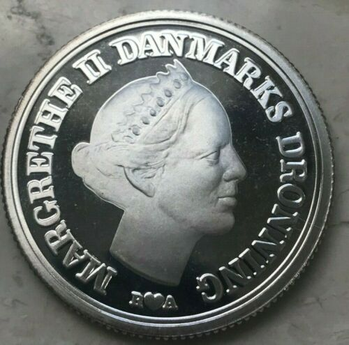 1986 Denmark 10 Kroner - Silver Proof Margrethe II and Frederik