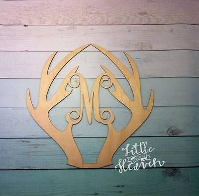 """12"""" Wooden Vine Letter Deer Antlers Unfinished wood letters Custom Letter Antler"""