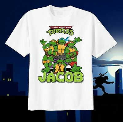 RETRO 80's Teenage Mutant Ninja Turtles Custom T-Shirt Birthday Personalize