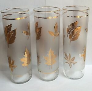 LIBBEY GOLD LEAF  FROSTED Drinking GLASSES  VINTAGE  Foiled Maple Leaf *Set of 2