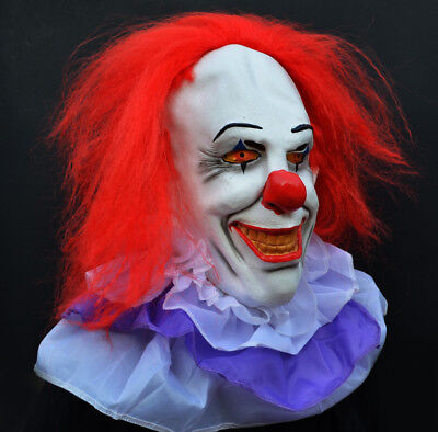 Scary Halloween Clown Mask It Movie Stephen King Classic Pennywise  - Clown Halloween Movies