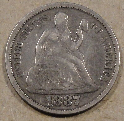 1887 SEATED LIBERTY DIME NICE MID GRADE COIN