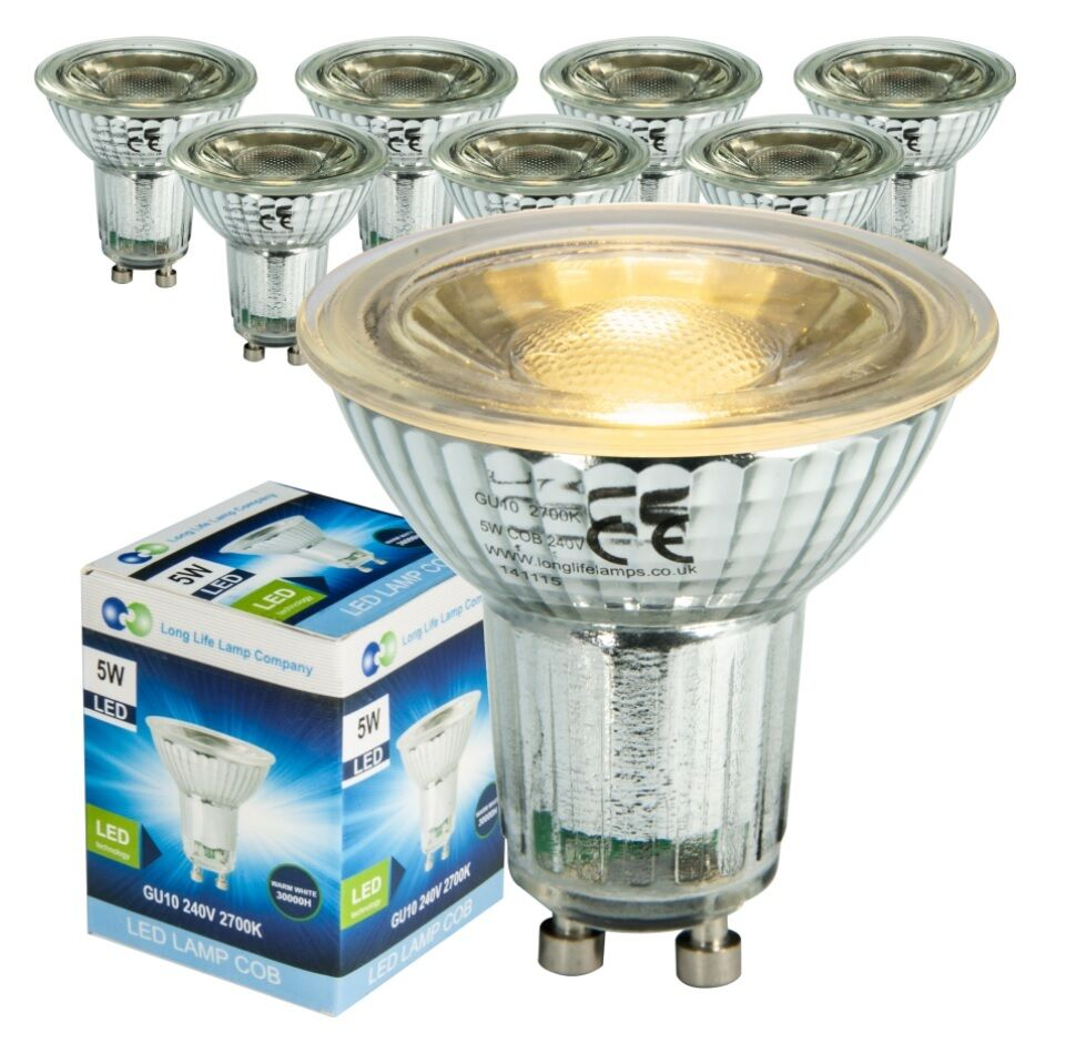 50w Gu10 Led Replacement: 5W COB LED Light Bulb GLASS Body GU10 Replacement For 50W