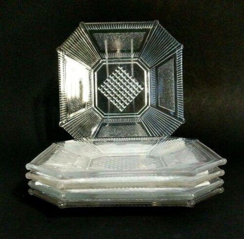 """5 EAPG Derby Pleat and Panel Salad Dessert Plates 7"""" Clear Glass, 1882-1891"""