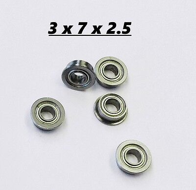 5pcs Flanged Small Miniature Bearing 3x7x2.5 Micro Bearing Free Usa Ship
