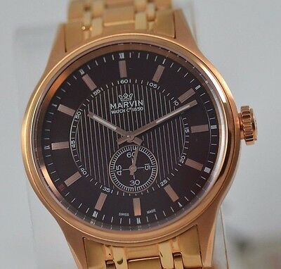 $499.99 - New Mens Marvin Brown Dial Rose Gold Sub Dial Swiss Made Luxury Dress Watch