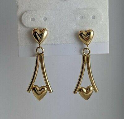 14K Yellow Gold Israel Puffy Hearts Dangle Earrings 1.49gm