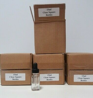 Lot Of 48 15ml 12 Oz Empty Dropper Bottles Clear Rounded Square Glass
