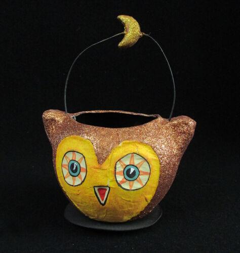 "Vintage Dept 56 OWL Halloween Paper Mache Glitter Candy Pail Bucket Cup 6"" Moon"
