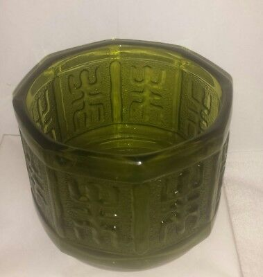 Antique Emerald Green Frosted Panel Depression Glass Bowl FREE SHIPPING CAN USA