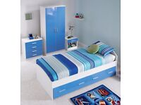 Brand New Single Storage Bed in White / High Gloss Blue 2 Storage Drawers !