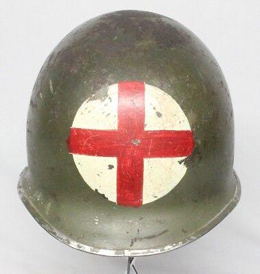 WWII U.S. Army M1 Helmet w/Liner - Combat Medic Red Cross Markings
