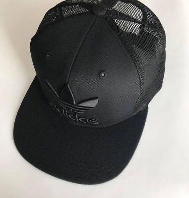 c0b8c82c7bb Adidas Cap Black Trefoil Trucker Cap Snapback Mesh Hat One Size Adults  Unisex