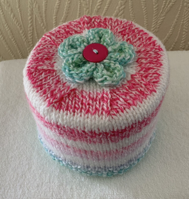 Hand+Knitted+Pinks+Greens+%26+White+Stripe+Toilet+Roll+Holder+with+Flower+Topper