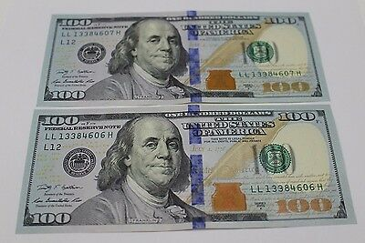 2 New Uncirculated Hundred Dollar Bills Two  100 Notes 2009  2009A Various Frb