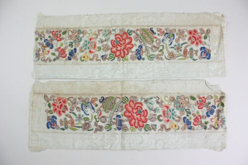 Pair of Antique Chinese Textile Sleeve Bands Embroidery Forbidden Qing Dynasty