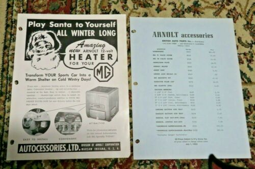 Arnolt Accessories/British Auto Parts-Collection of MG Accessory Sheets - 1953