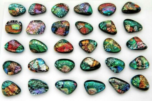 MULTI COLORS lot 30 pcs DICHROIC FUSED GLASS pendant (N22) CABOCHON MOSAIC TILE