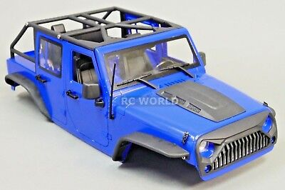RC Scale Truck Body Shell 1/10 JEEP WRANGLER RUBICON Hard Body V2 w/ ROLL BARS (Rc Truck Shell)