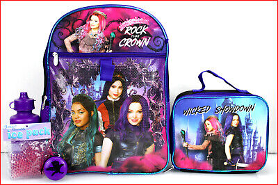 """5 pc- Descendants 3 ROCK the CROWN 16"""" BACKPACK + LUNCH Box"""