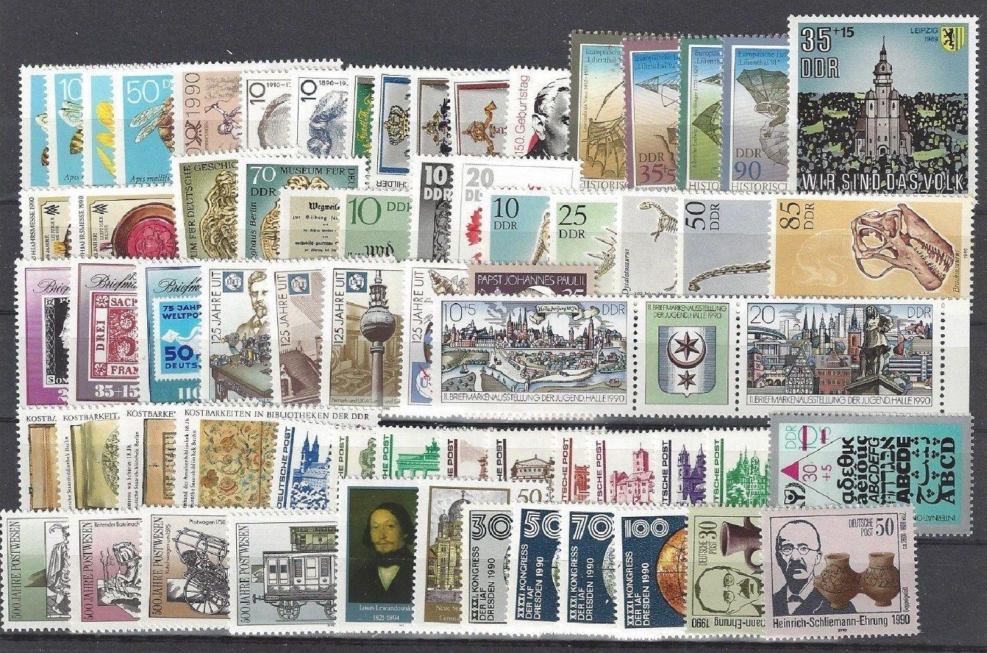 DDR Jahrgang 1990 , postfrisch , Auswahl aus Michel Nr. 3295 - 3365