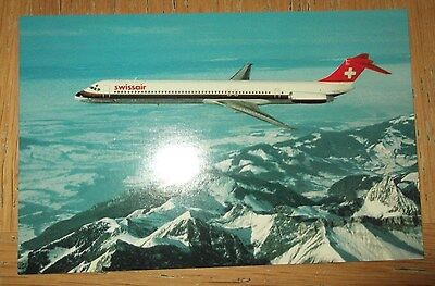Swissair MD-81 branded postcard MINT CONDITION
