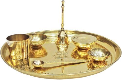 Brass Pooja Thali 7 Pcs Indian Diwali Pooja Aarti Thali Set Festival Gift UT02