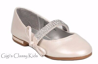 New Girls Ivory Dress Shoes Flats Rhinestones Mary Jane Flats Baby Toddler - Girls Ivory Flats