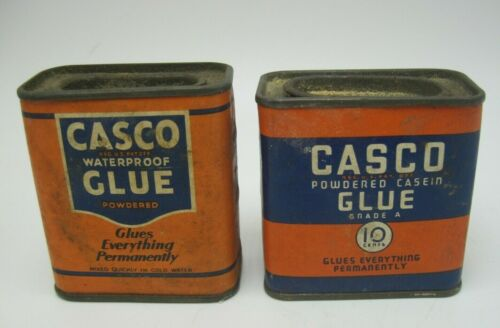 Lot of 2 Vintage Casco Glue Tins- Powdered Casein and Waterproof
