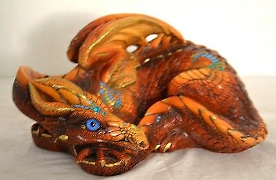 Windstone Editions * Brown Coiled Dragon * Fantasy Figure Mythical Magic Statue