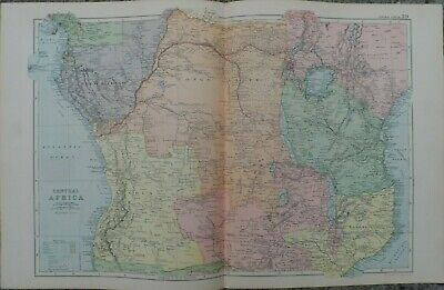 Antique map - Central Africa - printed paper 19th c - for framing - 35x54  cm