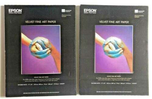 "Epson Velvet Inch Fine Art Paper 17"" x 22"" - 25 Sheets S042097 Lot of 2"