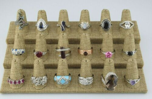 Lot of 18 Sterling Silver Multi Gemstone Statement Rings Bands Sizes 9 10 11