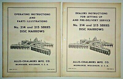 Allis Chalmers 214 215 Disc Harrow Set-up Operators Parts Manuals Original