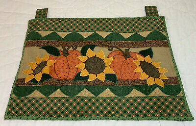 Country Quilt Wall Hanging, Printed Design, Sunflowers, Pumpkins, Checks, Green
