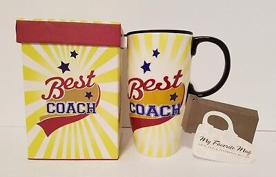 Best Coach Latte Coffee Tea Travel Mug Cup With Gift Box New 17 oz Ceramic