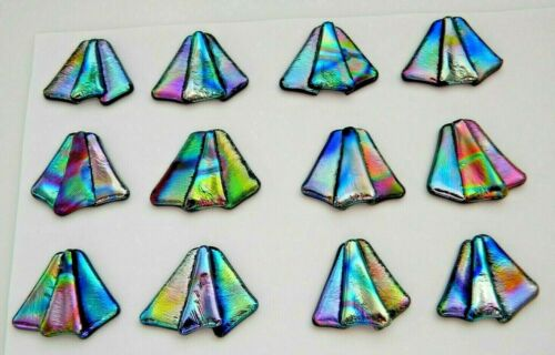 small FUNKY set 12 pcs DICHROIC FUSED GLASS pendant (A1) CABOCHON WIRE WRAPPING