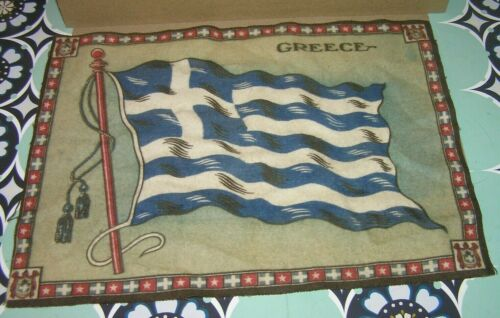 Antique ~ Cigar Cigarette Tobacco Collectors Felt Greece National Flag Pennant