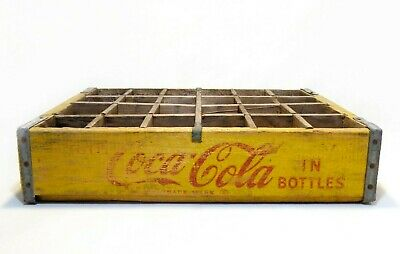 EARLY 20TH C VINT YELLOW/RED COCA-COLA WOOD BOX CRATE BOTTLE CARRIER W/TIN EDGES