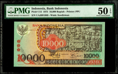 10,000 Rupiah 1975 Indonesia, Bank Indonesia Pick# 115 PMG 50 EPQ About UNC