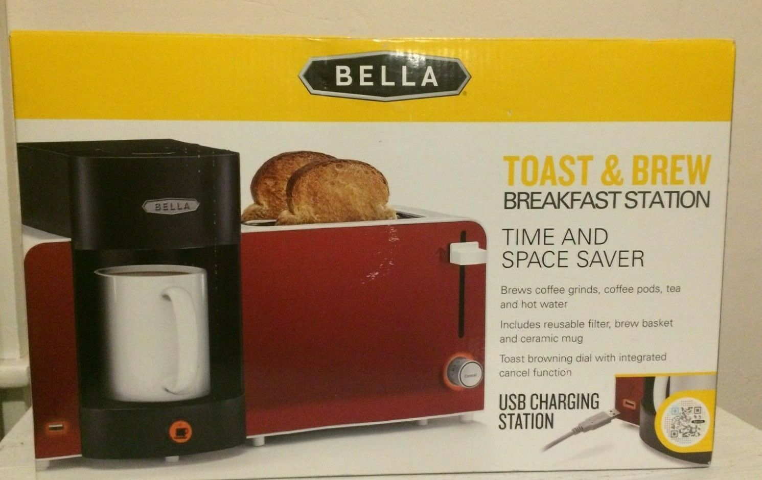 Bella Brew Toaster Station Red USB Port Compact Kitchen Camp