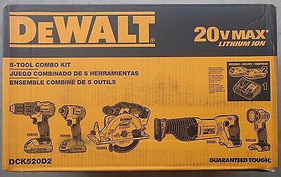DEWALT DCK520D2 20V MAX Lithium-Ion 5-Way Combo Kit Drill Impact - BRAND NEW !!