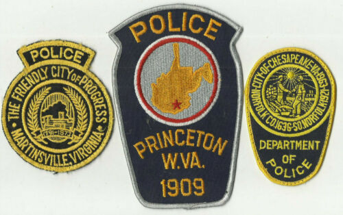 Princeton / Martinsville / Chesapeake (VIRGINIA) Police Patches (USED)