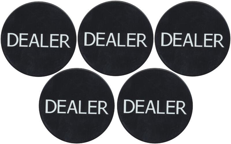 New 5 Black Dealer Buttons Texas Holdem Poker Casino Style Tournaments  *