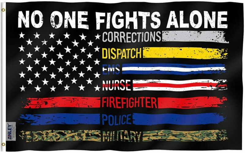 Anley 3x5 Foot No One Fights Alone Flag - Supporting Our First Responders Flags